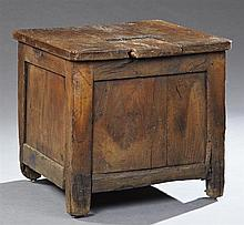 French Provincial Carved Oak Kitchen Salt Tub, 18th c., the square top with a tongue-and-groove sliding door opening to interior sto...