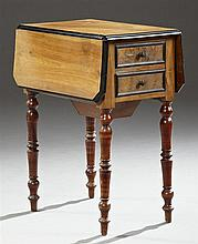 Louis Philippe Carved Walnut Drop Leaf Work Table, c. 1840, the canted corner rounded edge top over two drawers on one side and a po...
