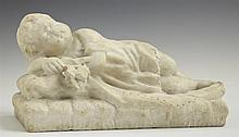Carved Marble Figure, 19th c., of a sleeping child holding a flower, H.- 6 in., W.- 10 3/4 in., D.- 5 3/8 in.