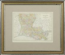 Randy McNally Map of Louisiana, 1914, hand colored, showing the parishes, presented in a gilt frame, H.- 9 3/4 in., W.- 12 3/4 in.