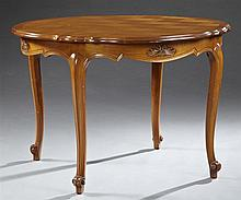 Louis XV Style Carved Cherry Parquetry Inlaid Oval Dining Table, 20th c., the serpentine basket weave inlaid top with one leaf, over...