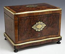 Brass and Mother of Pearl Inlaid Burled Walnut Humidor, c. 1870, the folding lifting lid revealing four removable grooved trays desi...