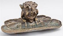 Unusual Bronze Figural Inkwell Pen Tray, 19th c., in the form of a demon figure on a lily pad base, with original ceramic inkpot, H....