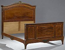 Louis XV Style Carved Inlaid Rosewood Ormolu Mounted Bed, early 20th c., the arched ormolu mounted headboard flanked by inlaid stile...