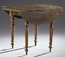 French Provincial Carved Pine Circular Demi-Lune Table, 19th c., on turned tapered legs, H.- 28 in., W.- Closed- 24 in., Dia.- 38 1/...