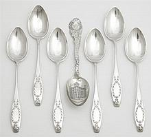 Group of Seven Sterling Teaspoons, consisting of a set of 6 by Gorham, 1911, in the