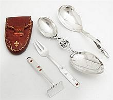 Group of Four Sterling Pieces, consisting of a Georg Jenson