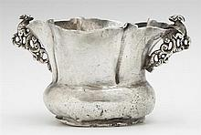 Unusual Diminutive Continental Silver Lobed Bowl, 19th c., the pierced side handles topped with relief rabbit figures, Wt.- 3.5 troy...
