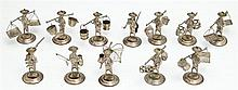 Collection of Twelve Hong Kong Sterling Silver Miniature Figures, early 20th c., depicting laborers, including a hunter, 2 fishermen...