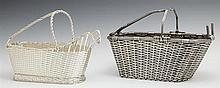 Two French Silverplated Wine Bottle Baskets, 20th c., with lattice work sides, Larger- H.- 6 3/4 in., W.- 10 in., D.- 4 5/8 in.