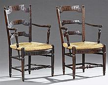 Pair of French Provincial Louis XVI Carved Beech Ladder Back Rush Seat Armchairs, 19th c., the shaped reeded ladder backs to curved...