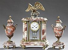 Three Piece Highly Figured Rouge Marble and Bronze Clock Set, 19th c., consisting of a highly figured marble portico clock, by Japy...