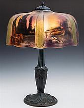 Pittsburgh Lamp Co. Reverse Painted Lamp, c. 1920,