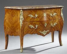 French Inlaid Rosewood Gilt Ormolu Mounted Commode, 20th c., the amazing thick stepped edge Breche d'Alpes marble over two deep draw..