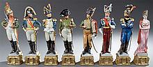 Group of Eight Polychromed Porcelain Capodimonte Figures, 20th c., of Napoleon, Josephine, and six of Napoleon's generals, on integr..