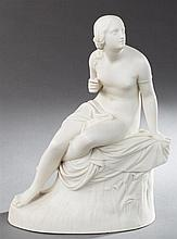 Copeland Parian Figure, 19th c., of a seated female, by Marshal, H.- 12 in., W.- 9 in., D.- 5 in.