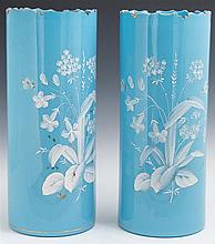 Pair of Large Blue Bristol Glass Vases, c. 1880, with gilt scalloped rims, the sides with painted enamel decoration of flowers and i...