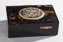 Fine Tortoise Shell Singing Bird Box Automaton, c. 1910, the silver lid with bird and floral decoration, opening to a feathered bird...