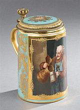 Royal Vienna Hand Painted Porcelain Covered Stein, c. 1900, of a monk pouring beer, with gilt decoration overall, titled on bottom