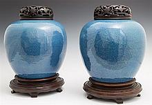 Pair of Chinese Baluster Form Ginger Jars, 19th c., now with carved hardwood lids, on circular carved mahogany stands, Jar- H.- 10 i...
