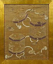 Oriental Silk Gold Thread Embroidery, 19th c., depicting covered boxes with crane and floral decoration, framed, H.- 32 1/4 in., W.-...