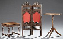 Three Pieces of French Furniture, early 20th c., consisting of a carved walnut shaped top tripod table, a two panel folding screen f...