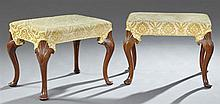 Pair of Carved Mahogany Queen Anne Style Stools, 20th c., with gold velvet upholstery, on shell carved cabriole legs to pad feet, H....