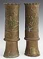 Pair of Copper Plated Brass Trench Art Vases, c. 1918, marked