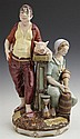 Large Polychromed German Porcelain Figure Group, 20th c., of Bula and Jemplanz, from the traditional folk tale, the bottom marked R-...
