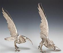 Pair of Silvered Metal Pheasant Table Garnitures, early 20th c., H.- 12 1/2 in., W.- 9 1/8 in., D.- 16 in.
