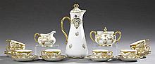French Limoges Nineteen Piece Chocolate Set, early 20th c