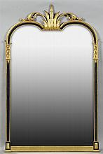 French Empire Style Parcel Gilt and Gesso Overmantel Mirror, 20th c., the pierced acanthine crest over a lacquered frame to a double...