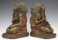 J. L. Lambert, Pair of Polychromed Bronze Clad Indian Bookends, c. 1920, probably Armor Bronze Co., signed,