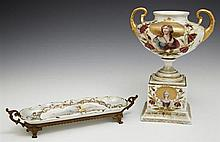 Two Pieces of Porcelain, early 20th c., consisting of a brass mounted Sevres style pin tray with gilt decoration and a hand painted...