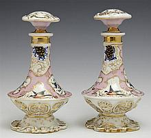 Pair of Mallet Form Old Paris Scent Bottles, mid 19th c., with gilt, floral and bird decoration, H.- 6 1/2 in., Dia.- 3 1/4 in.