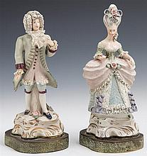 Pair of French Style Porcelain Figural Lamps, early 20th c., on shaped brass bases, now lacking lamp standards, H.- 12 1/2 in., W.-...