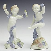 Pair of Glazed Porcelain Figures of Putti, early 20th c., one holding grapes and wine; the other flowers, H.- 5 1/2 in., W.- 3 1/4 i...