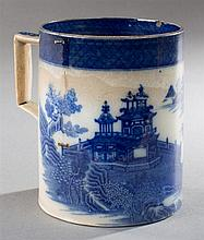 Chinese Export Blue and White Porcelain Tankard, 19th c., with figural and landscape decoration, H.- 5 3/4 in., W.- 6 1/4 in., D.- 4...