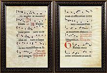 Pair of Hand Colored Vellum Hymnal Sheets, 17th c., presented in ebonized gilt decorated frames, H.- 19 7/8 in., W.- 13 1/2 in.