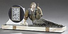 French Art Deco Patinated Spelter and Marble Mantle Clock, c. 1930, the geometric clock with a steel face next to a lounging spelter...