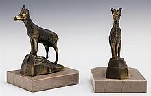 Pair of Art Deco Patinated Spelter Ibex Bookends, c. 1940, by Jamar, on hexagonal tan marble bases, H.- 5 3/8 in., W.- 4 in., D.- 3...