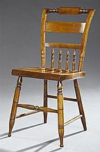 American Carved Birch Windsor Spindleback Side Chair, early 20th c., on turned legs joined by turned stretchers, H.- 33 in.