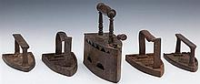 Group of Five Iron Sadirons, 19th c., one designed to use coal, Coal- H.- 7 3/4 in., W.- 7 5/8 in., D.- 3 3/4 in.
