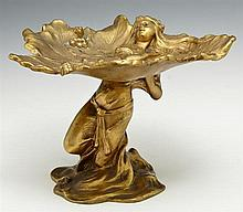 Alfred Foretay (1861-1944), Art Nouveau Gilt Bronze Figural Calling Card Tray, c. 1900, by Jennings Brothers, #353, H.- 6 1/4 in., D...