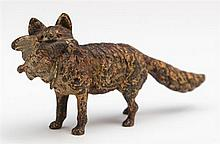 Cold Painted Vienna Bronze, 19th c., of a fox with a bird in its mouth, H.- 1 1/2 in., W.- 3 3/8 in., D.- 1 in.