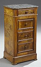 French Empire Carved Walnut Marble Top Nightstand, 19th c