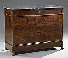 French Louis Philippe Carved Mahogany Marble Top Commode, 19th c., the rectangular highly figured grey marble over a frieze drawer,...