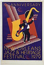 New Orleans Jazz and Heritage Festival Poster, 1979, 878/1000, by John Martinez, pencil numbered l.l. margin, pencil signed l.r. mar...