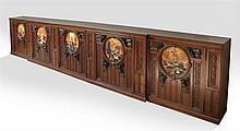 Large French Rare Belle Epoque Carved Oak Sideboard, late 19th c., the stepped rectangular top over foliate carved cupboard doors ce...