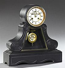 Black Marble Open Escapement Mantel Clock, c. 1880, by S. Marti, time and strike, the drum clock on a scrolled support with a trapez...